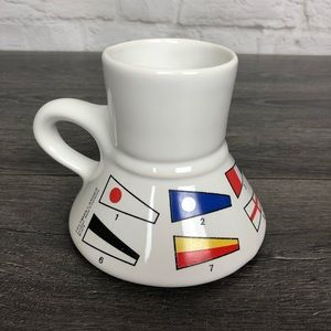 Vintage nautical flags no spill coffee mug